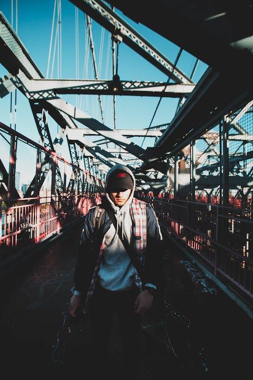 吊橋に立っている男