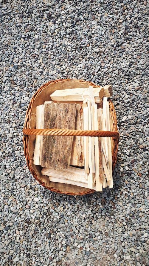 Free stock photo of basket, chopped wood, firewood, nature
