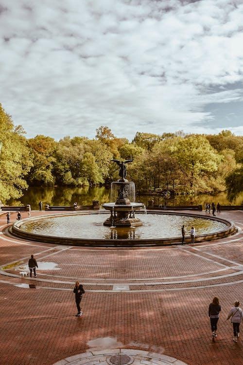 Kostenloses Stock Foto zu architektur, bäume, brunnen, park