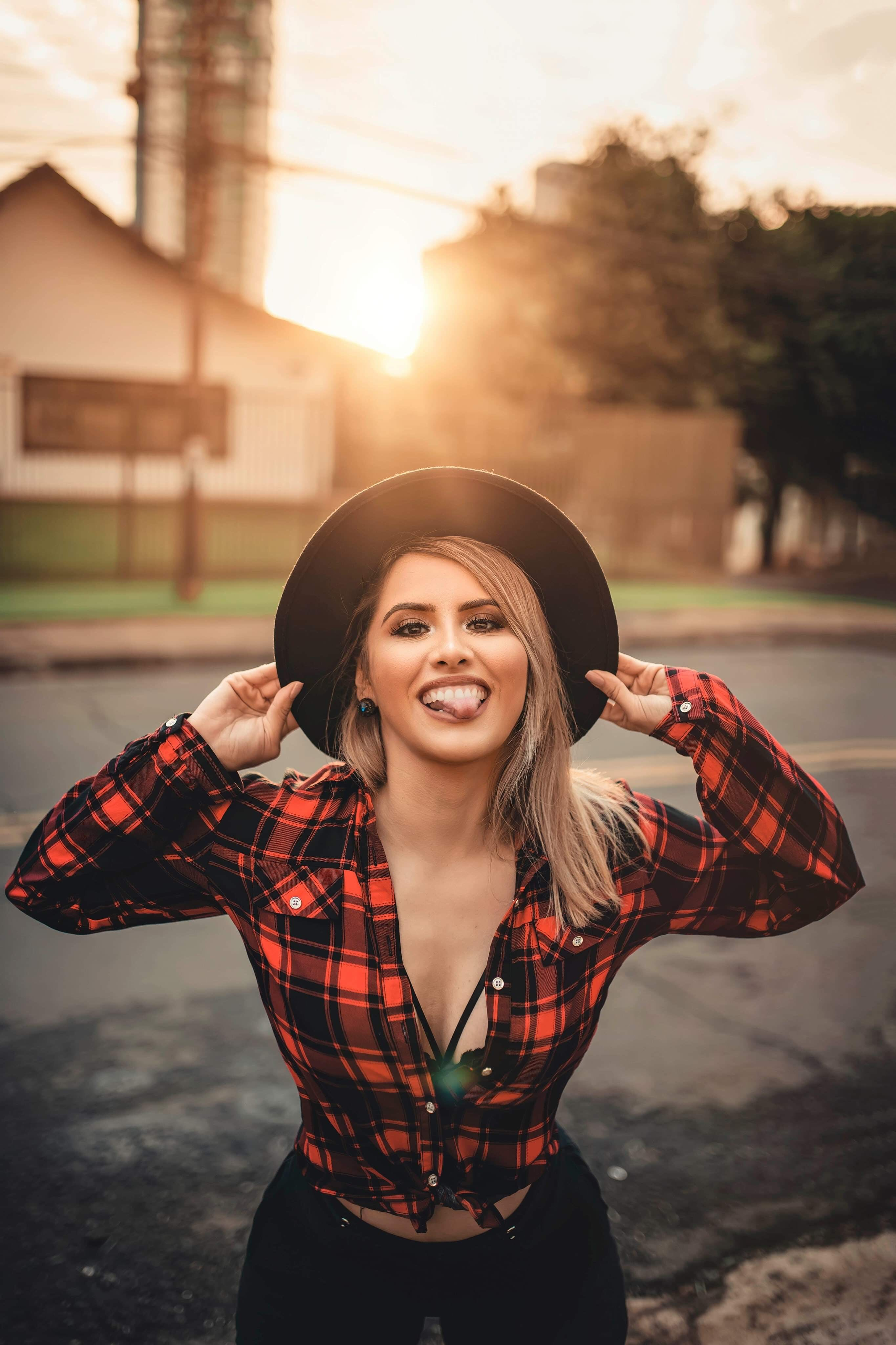 Woman In Plaid Top
