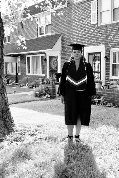 Free stock photo of african american woman, black and white, college, graduate