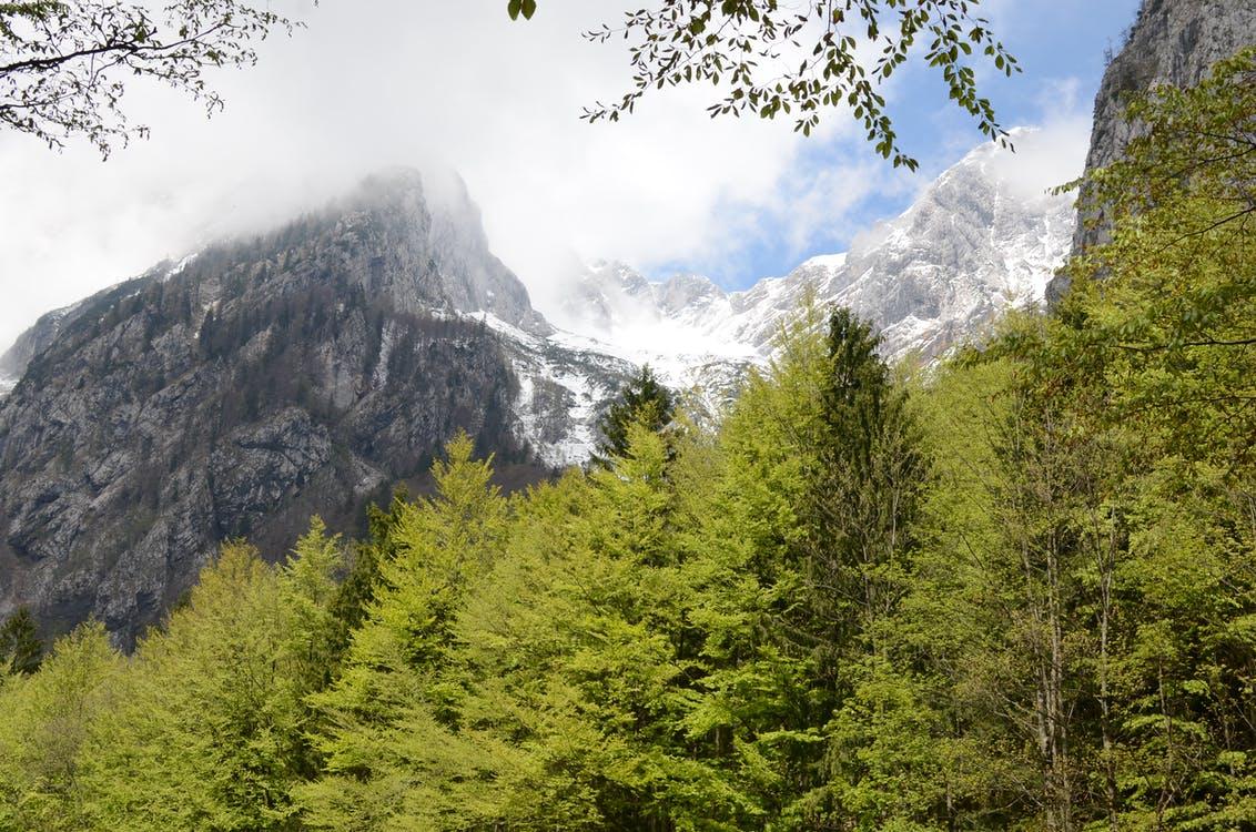 View of Snowy Mountain Under Cloudy Sky