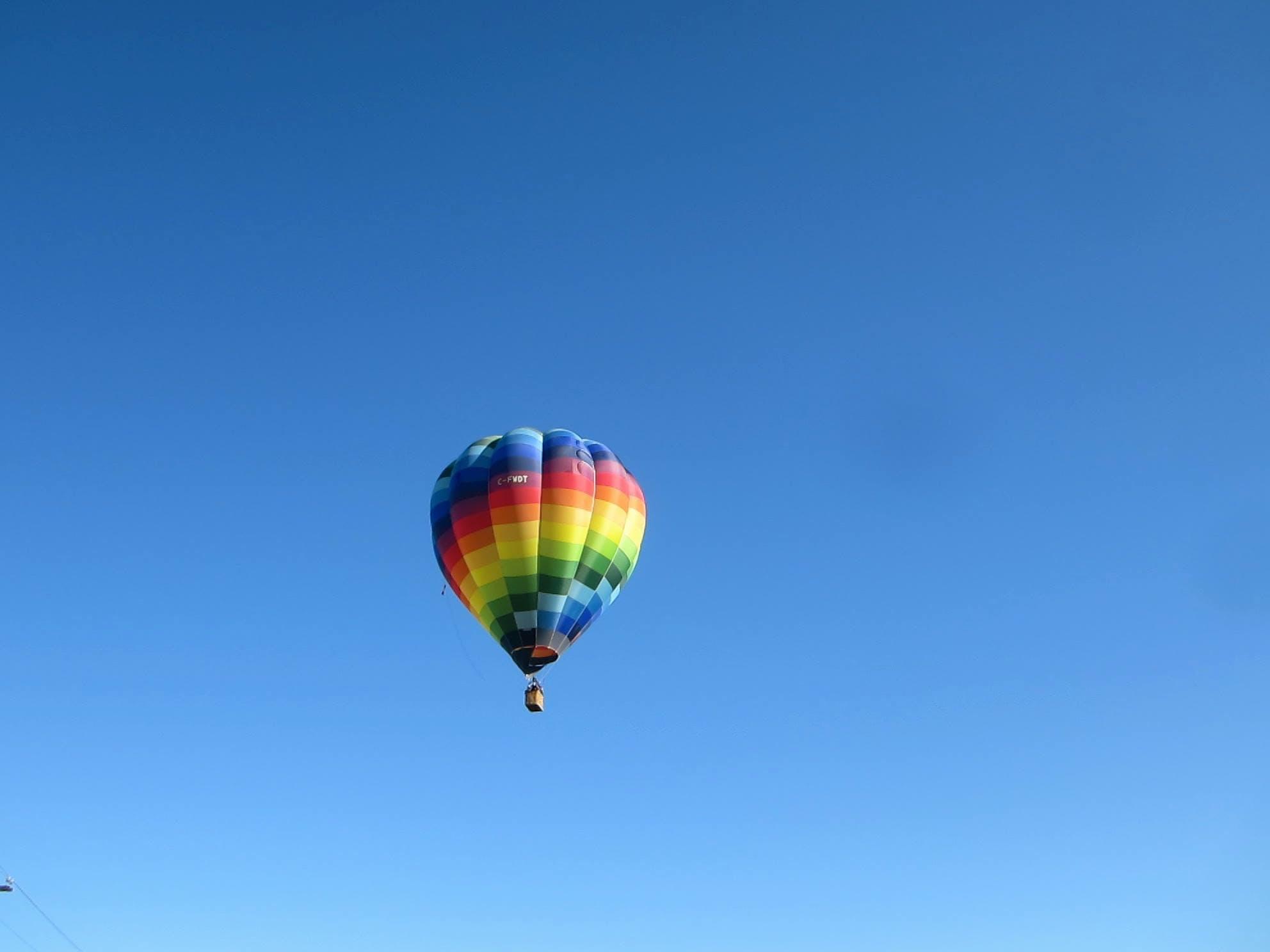 Blue, Yellow, and Green Hot Air Balloon
