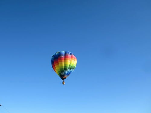 Blue, Yellow, and Green Hot Air Balloon
