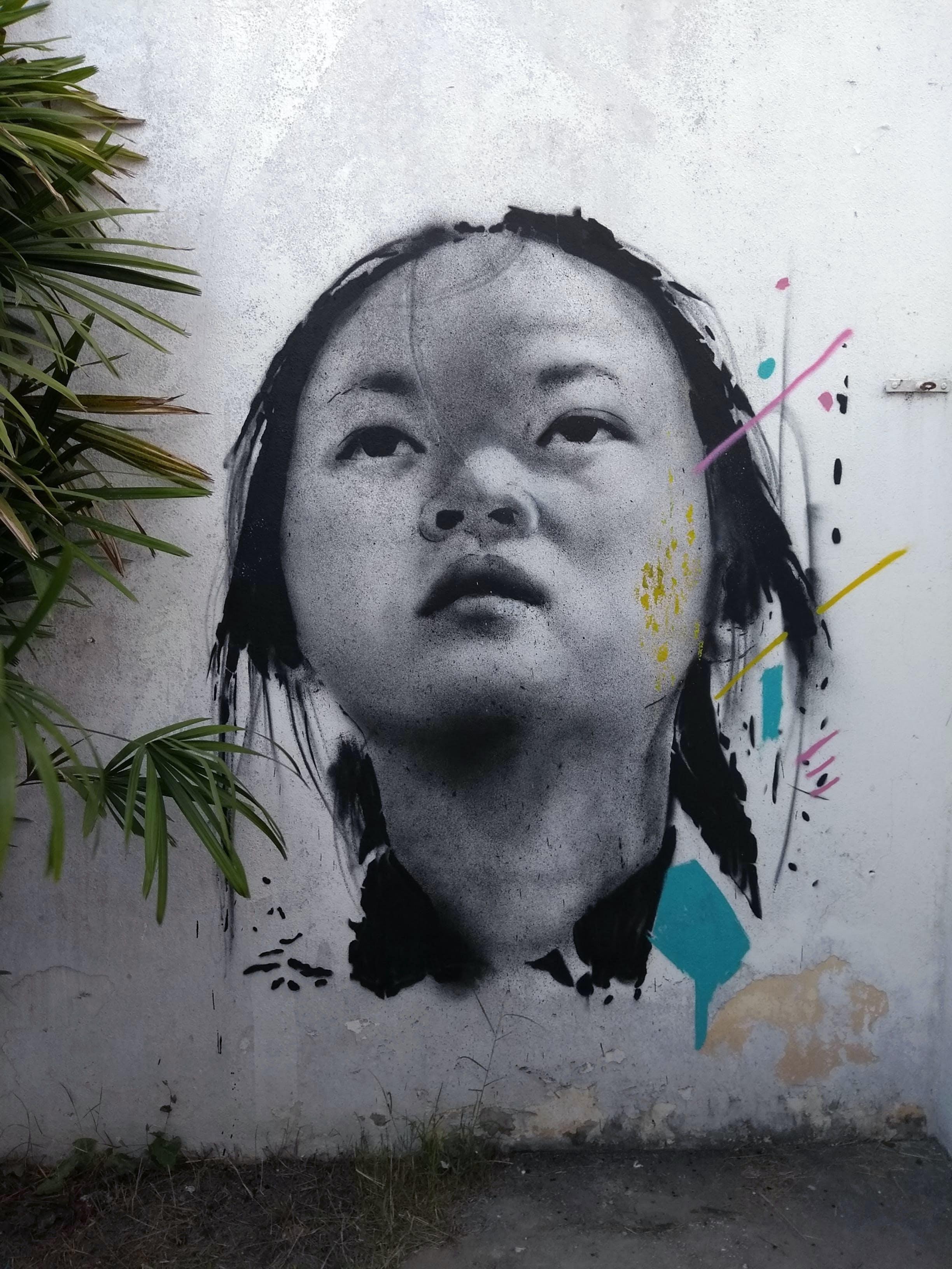 Kostenloses Stock Foto zu gesicht, gesichtsausdruck, graffiti, grüne blätter