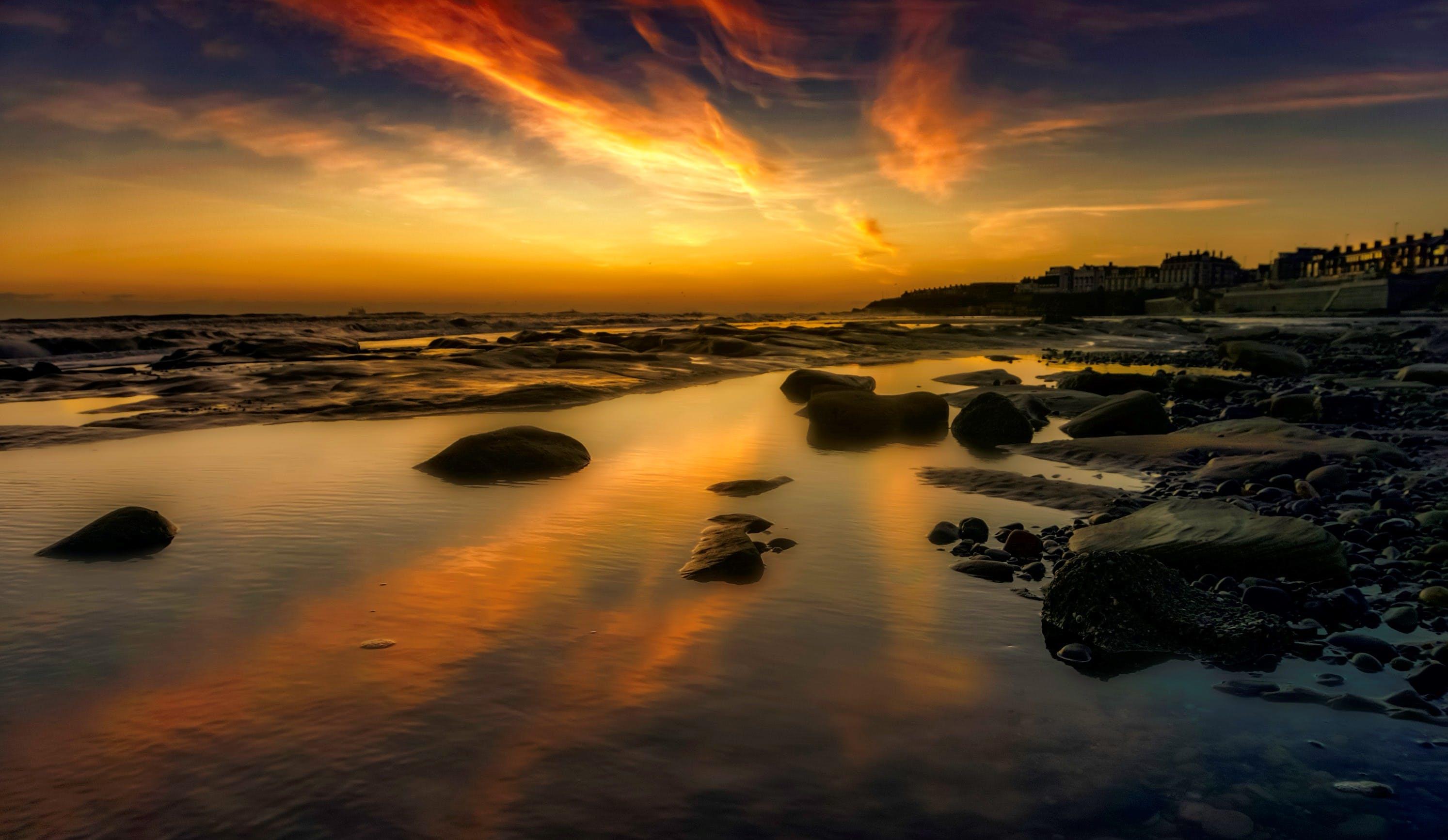 Foto profissional grátis de alvorecer, beira-mar, cair da noite, iluminado por trás