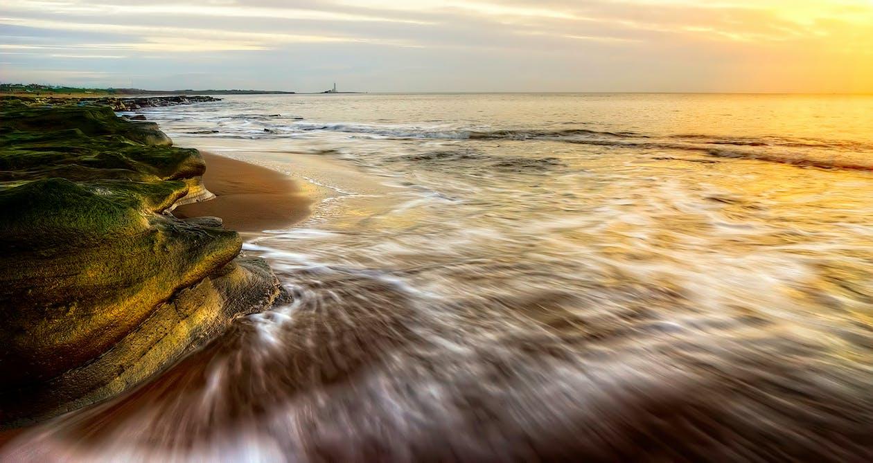 gryning, gyllene timmen, hav