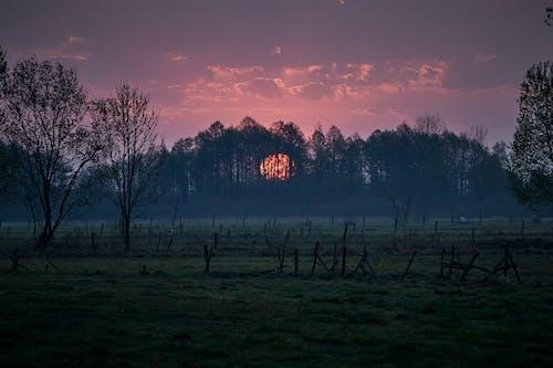 Widok Zachodu Słońca Nad Krajobrazem