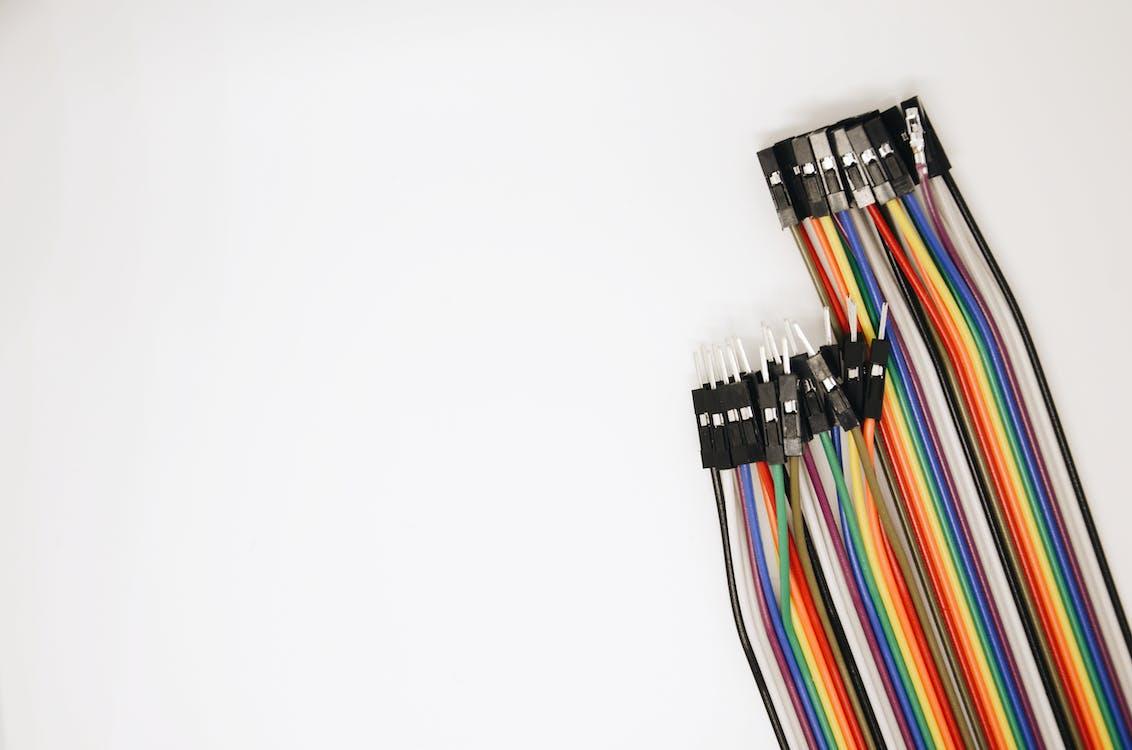 barevný, dráty, elektrické dráty