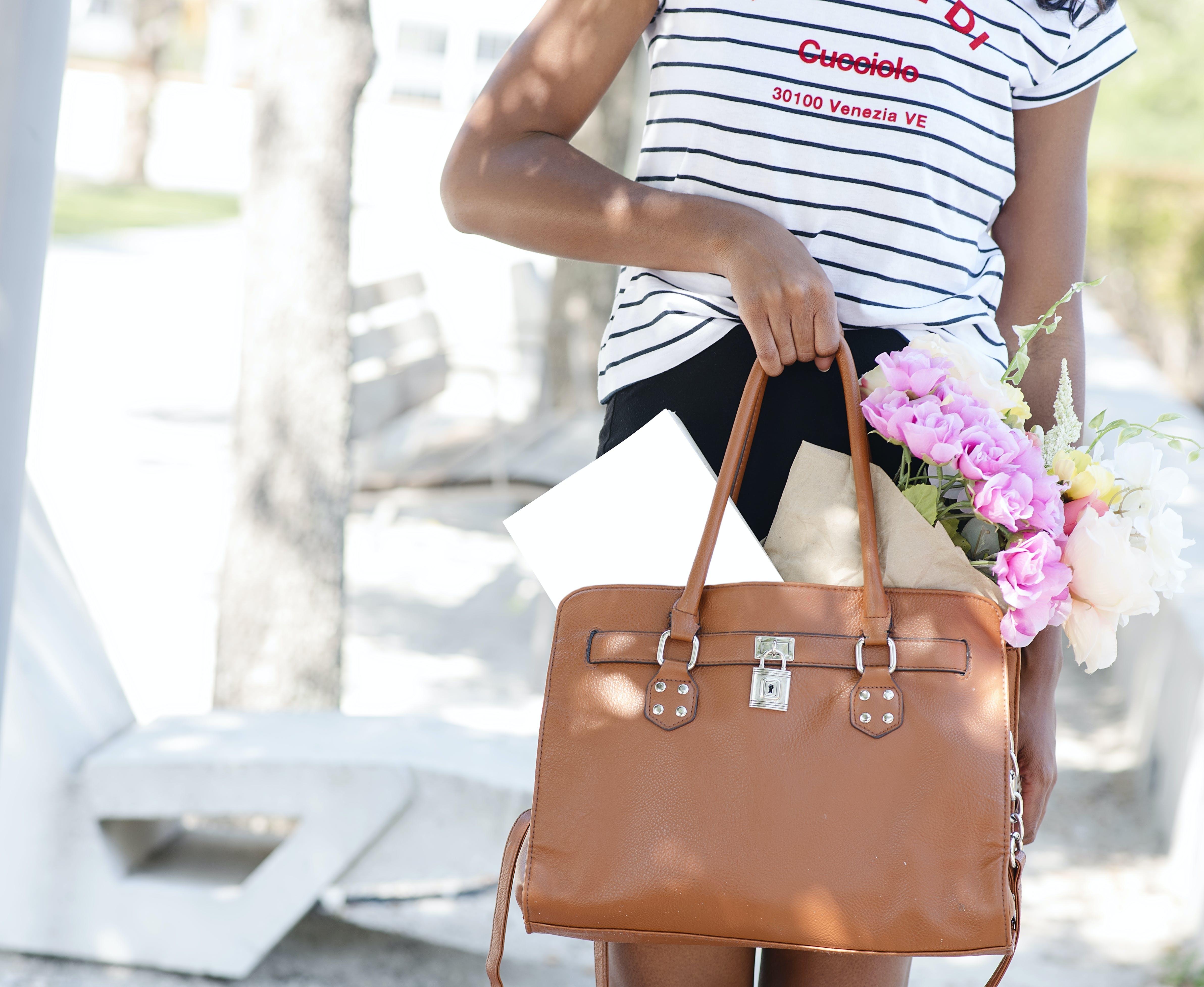 Person Holding Two-way Handbag