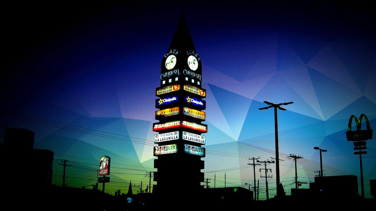 night, plaza, tower