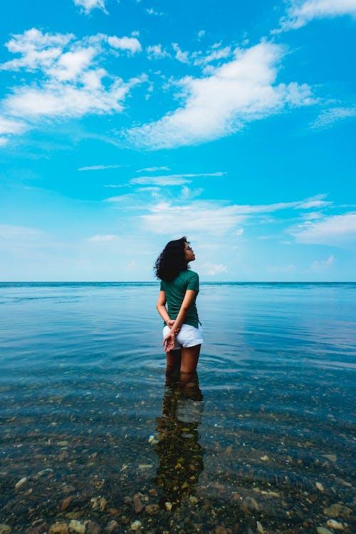 경치가 좋은, 맑은 물, 어두운 피부 모델, 열대 지방의 무료 스톡 사진