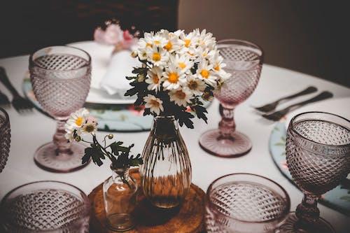 Ảnh lưu trữ miễn phí về bàn, hoa, ly rượu, ly uống