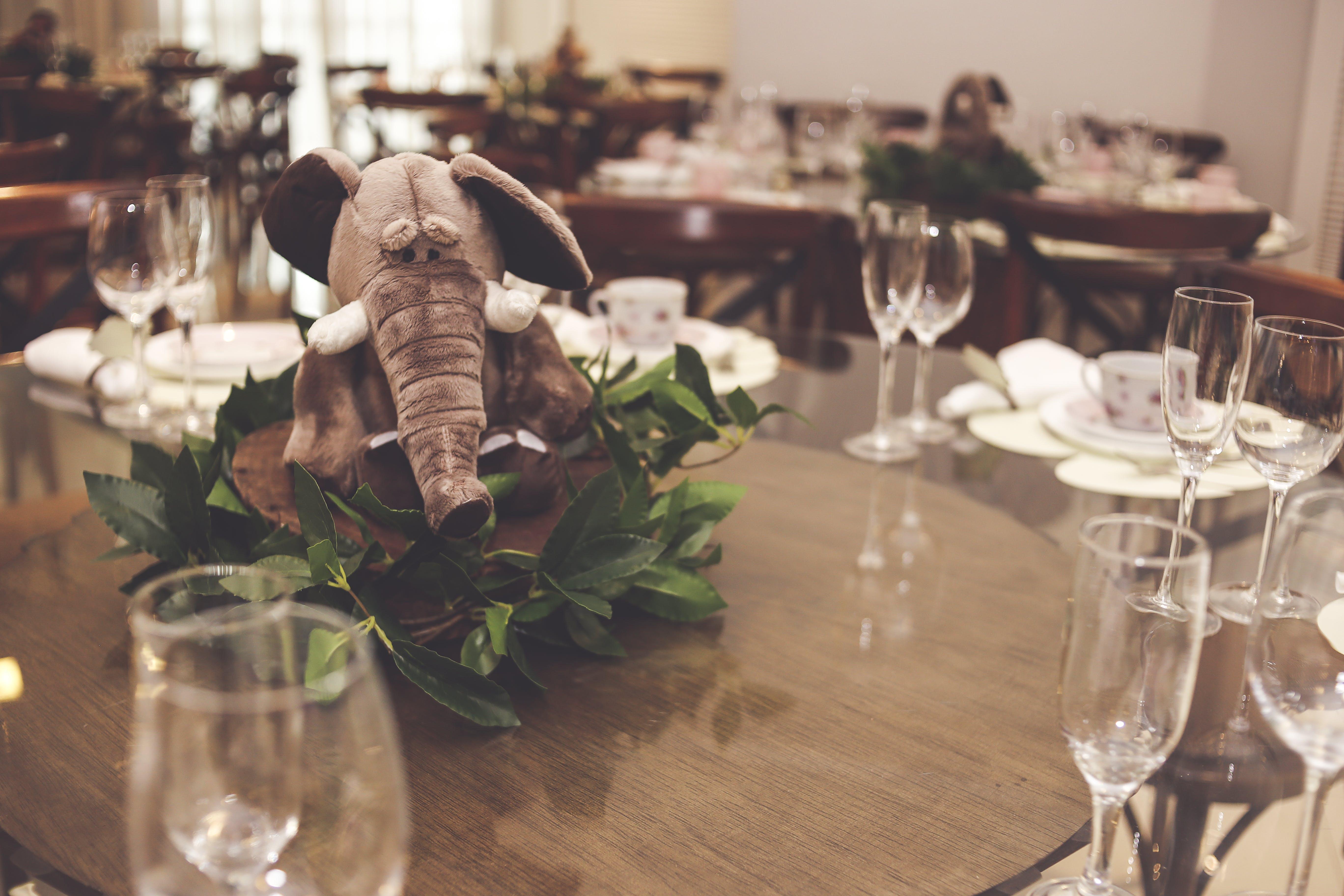 Grey Elephant Plush Toy Table Centerpiece