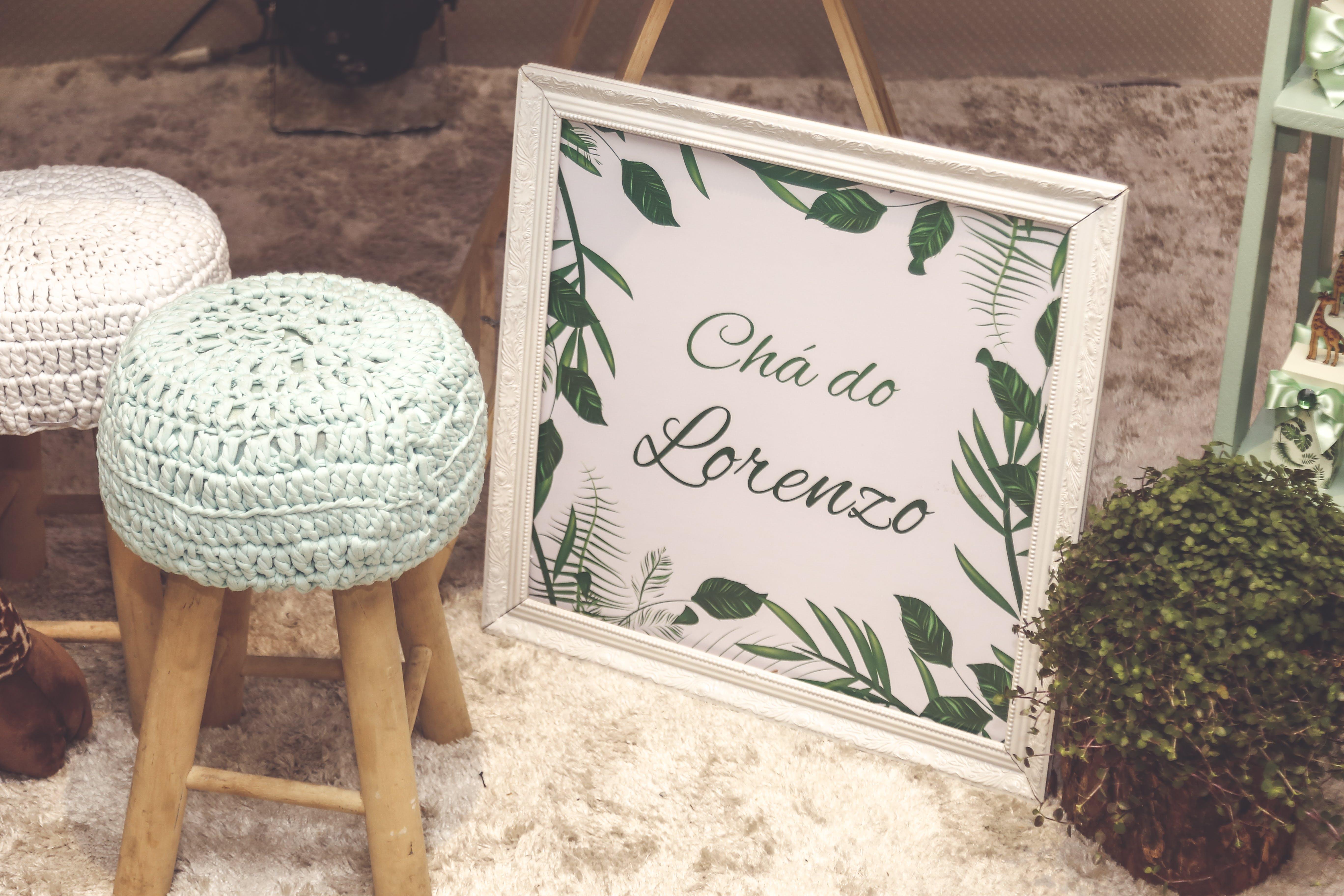 White Wooden Frame Besides Green Plant