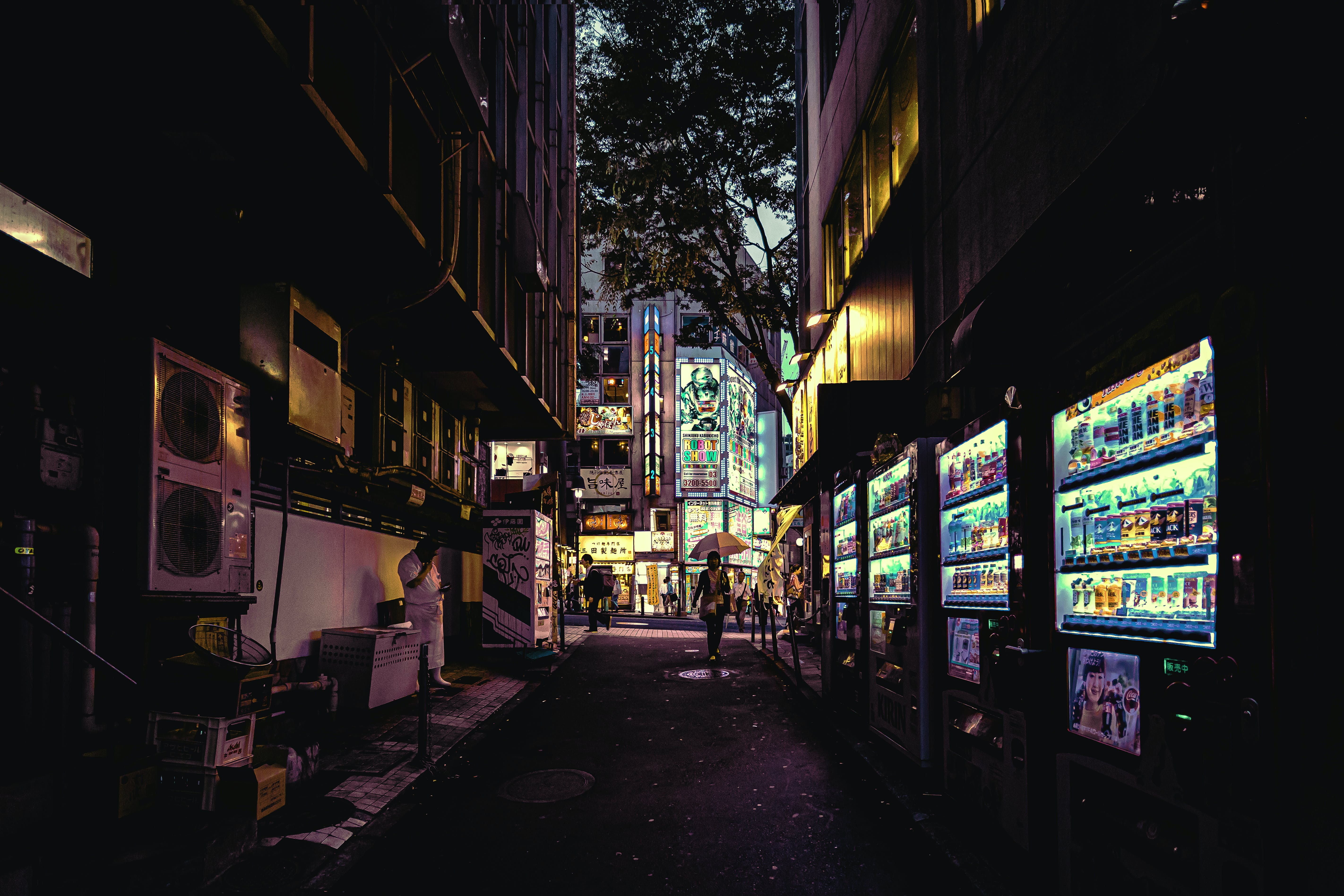 Lighted Vending Machines on Street