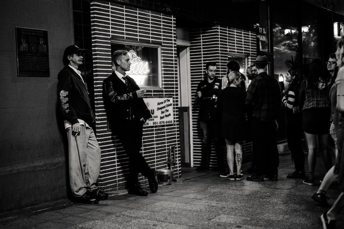 blanc i negre, carrer, gent