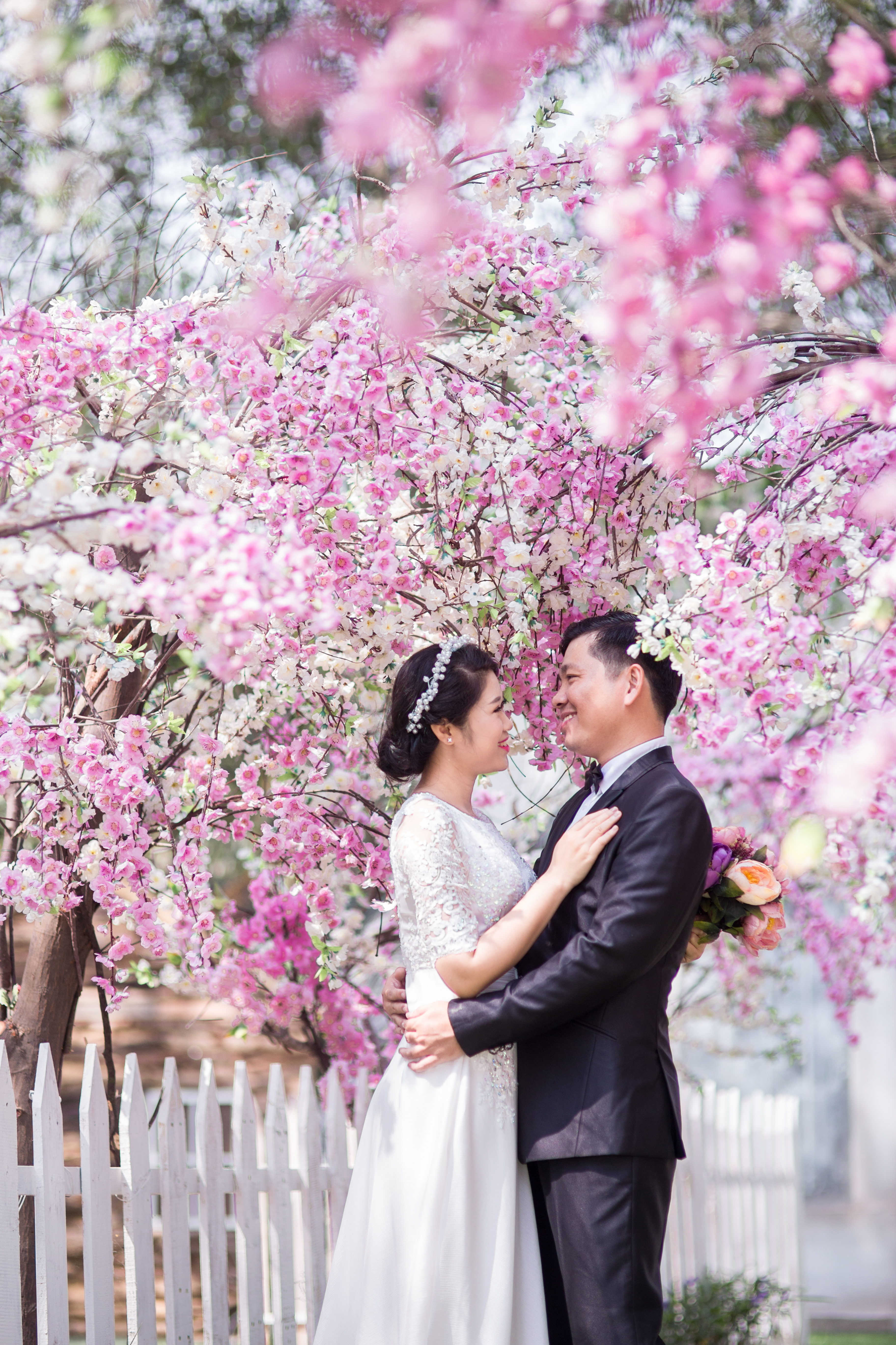 Wedding Couple Under Pink Cherry Blossoms