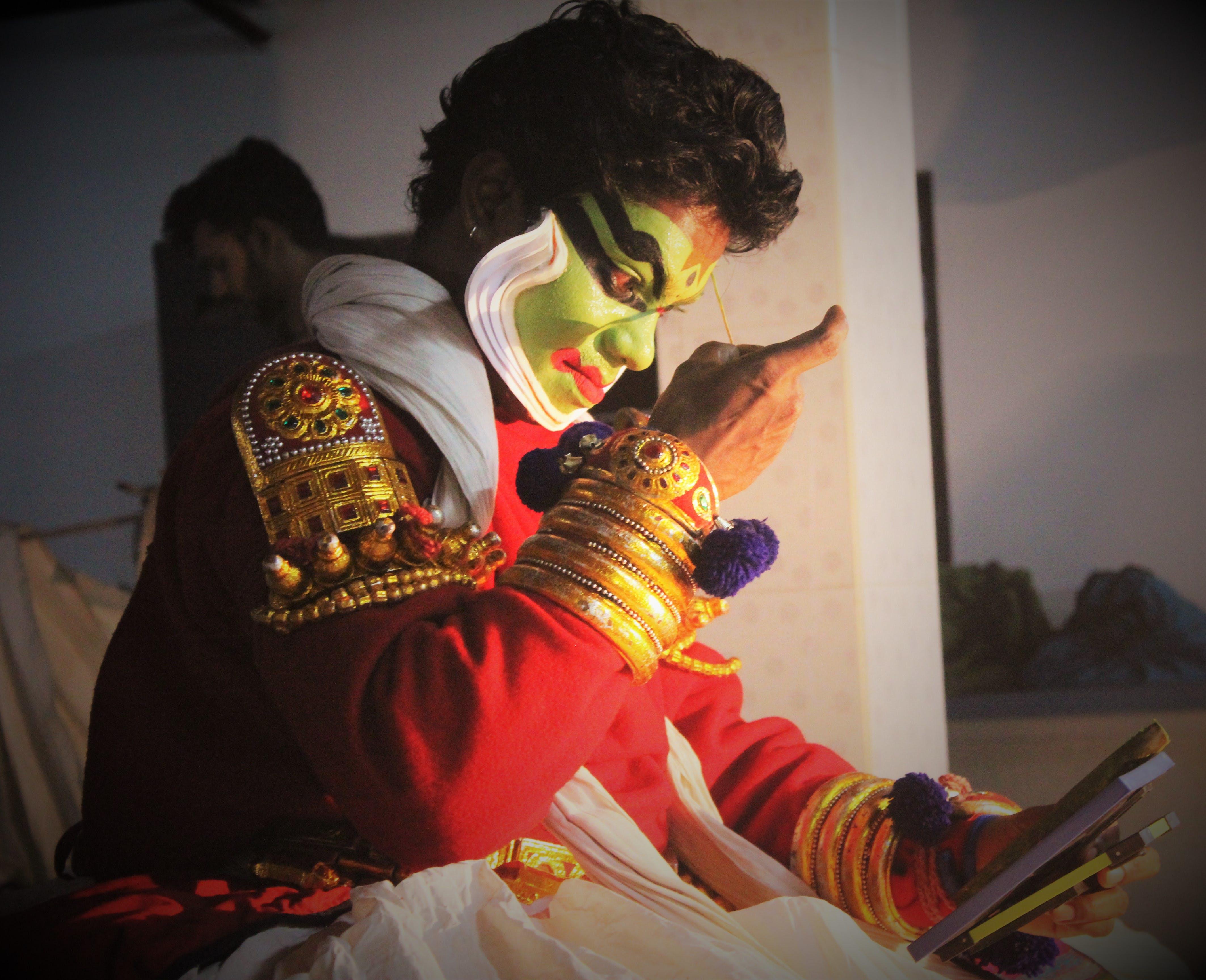 Kostenloses Stock Foto zu indische fest, indischer tänzer, kathakali, kathakali tanzen