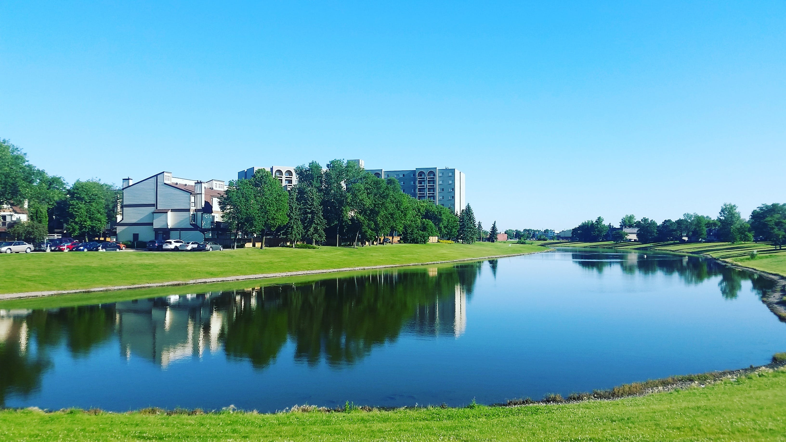 Body of Water Surrounded by Grass Near Buildings