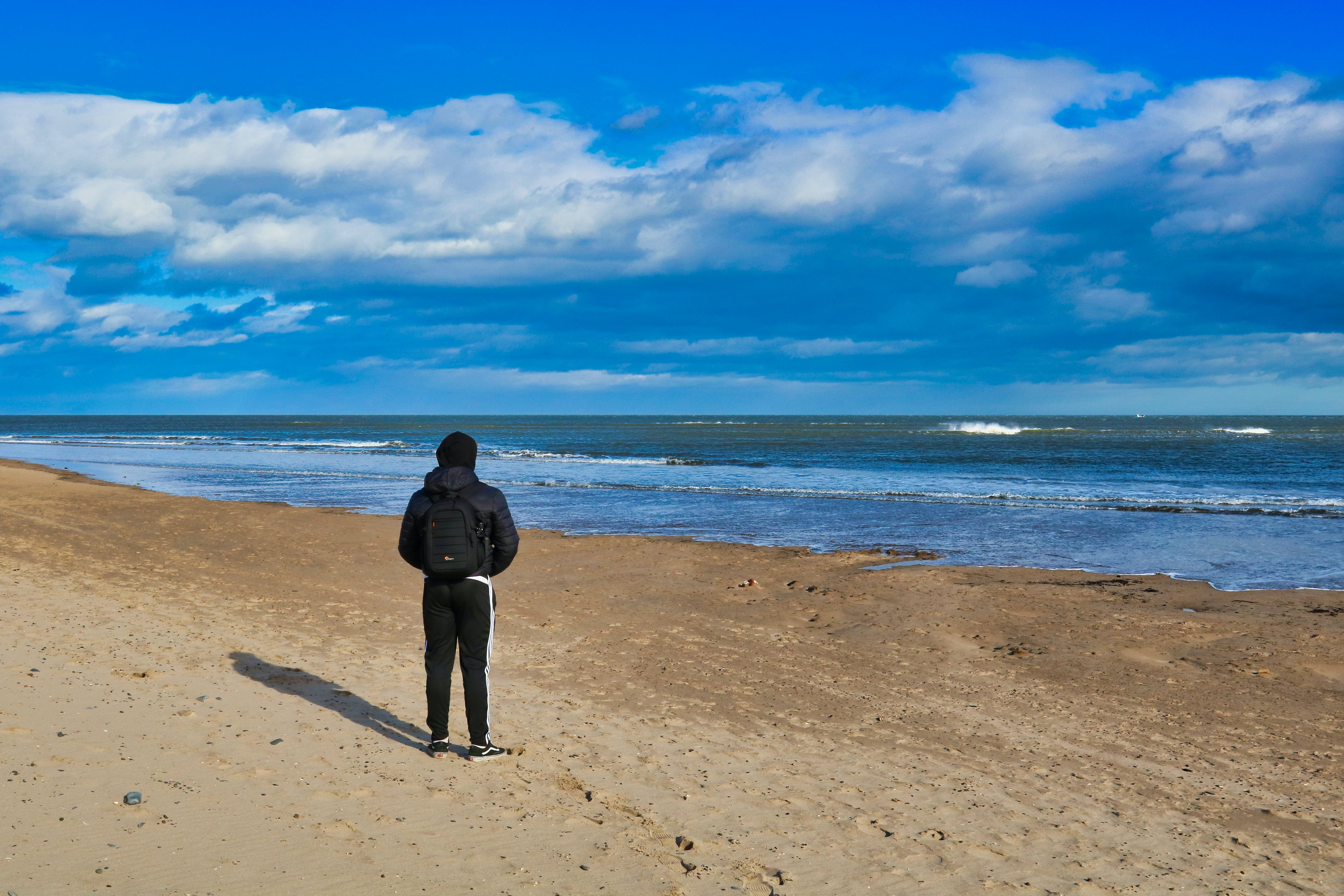Free stock photo of Alnmouth, Alnmouth Beach, beach, black rucksack