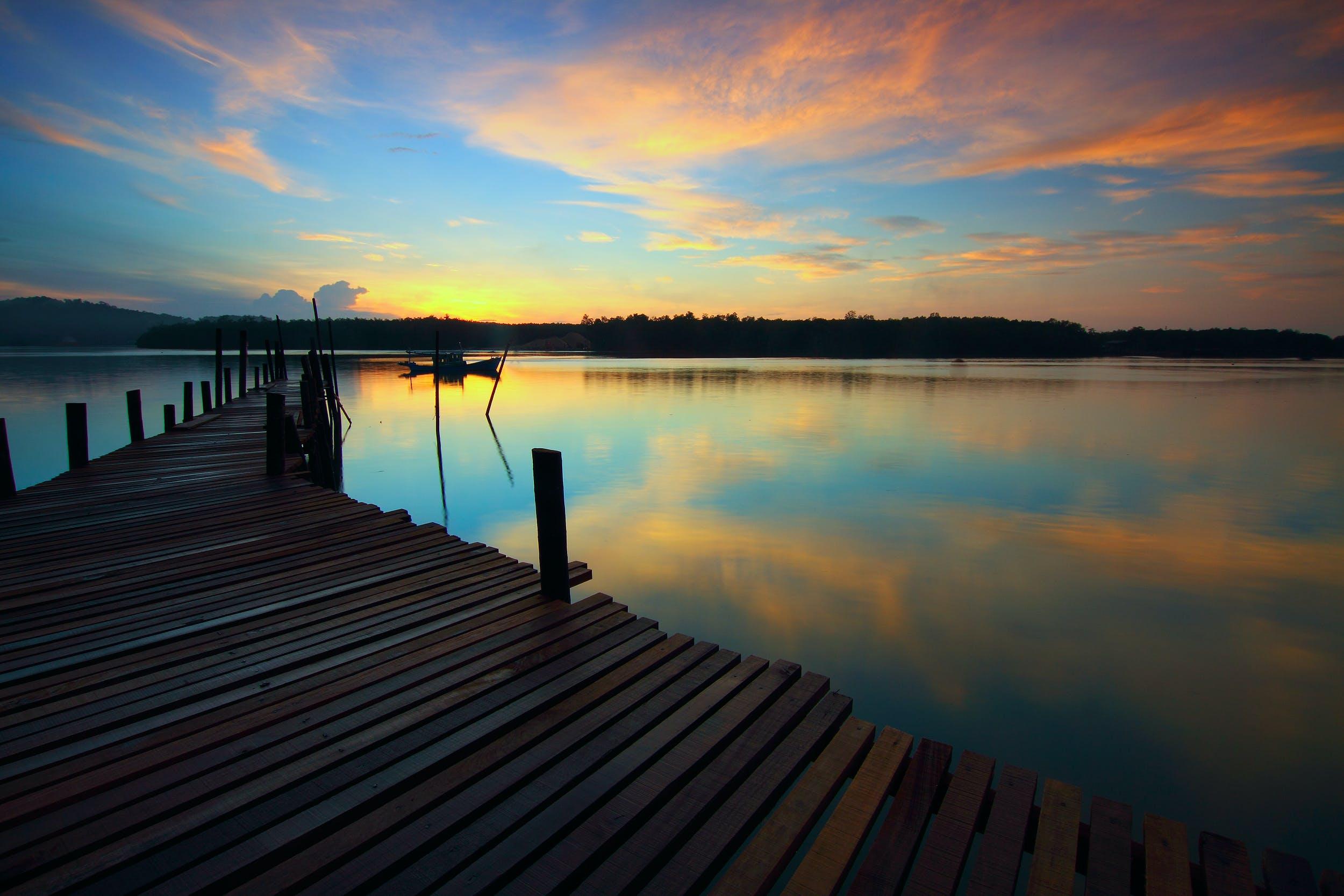 Základová fotografie zdarma na téma dok, dřevo, horizont, krajina