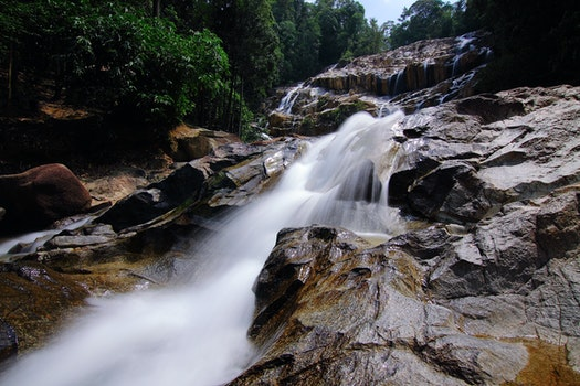 Waterfalls on Rocks Surrounded by Trees