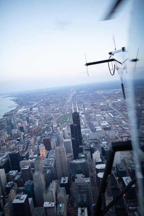 chicago, panoráma města, vrtulník