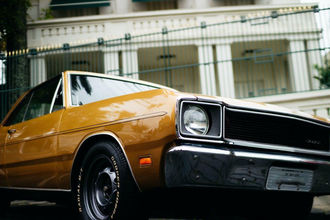 yellow dodge car