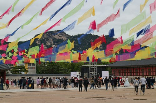 Free stock photo of colorful, flags, gyeongbokgung