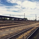 station, train station, steel