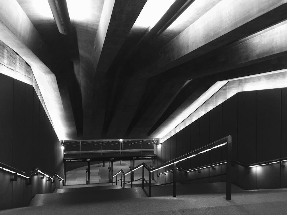 alb-negru, arhitectură, artă