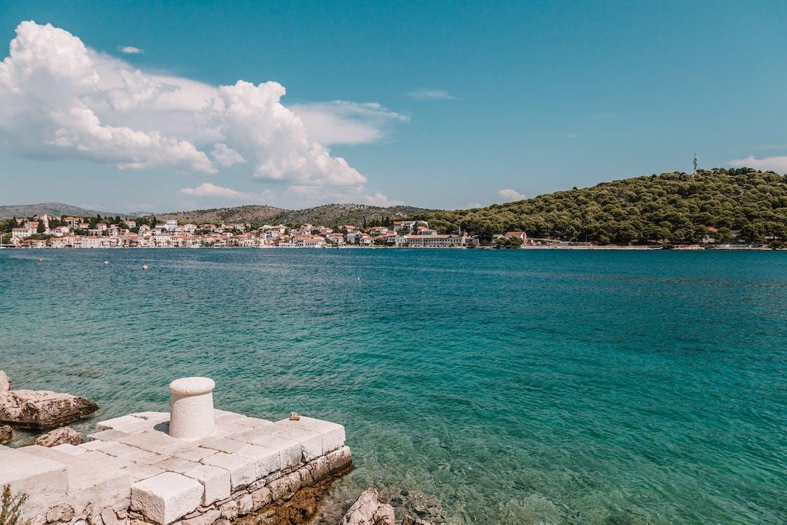 ακτή, αρχιτεκτονική, γαλάζια νερά