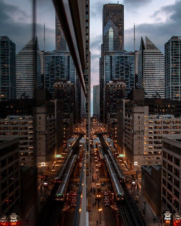 anochecer, arquitectura, calle