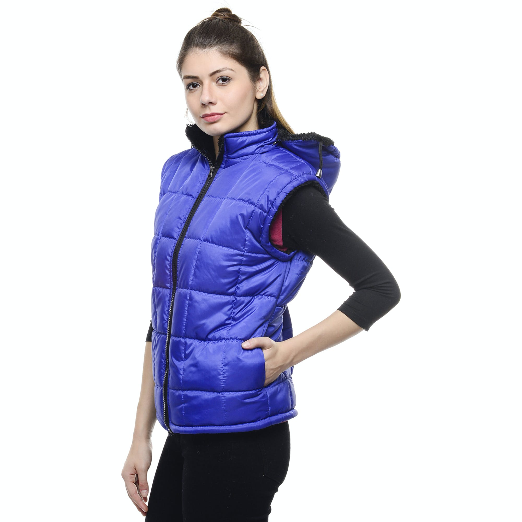 Woman Wearing Blue Zip Up Vest