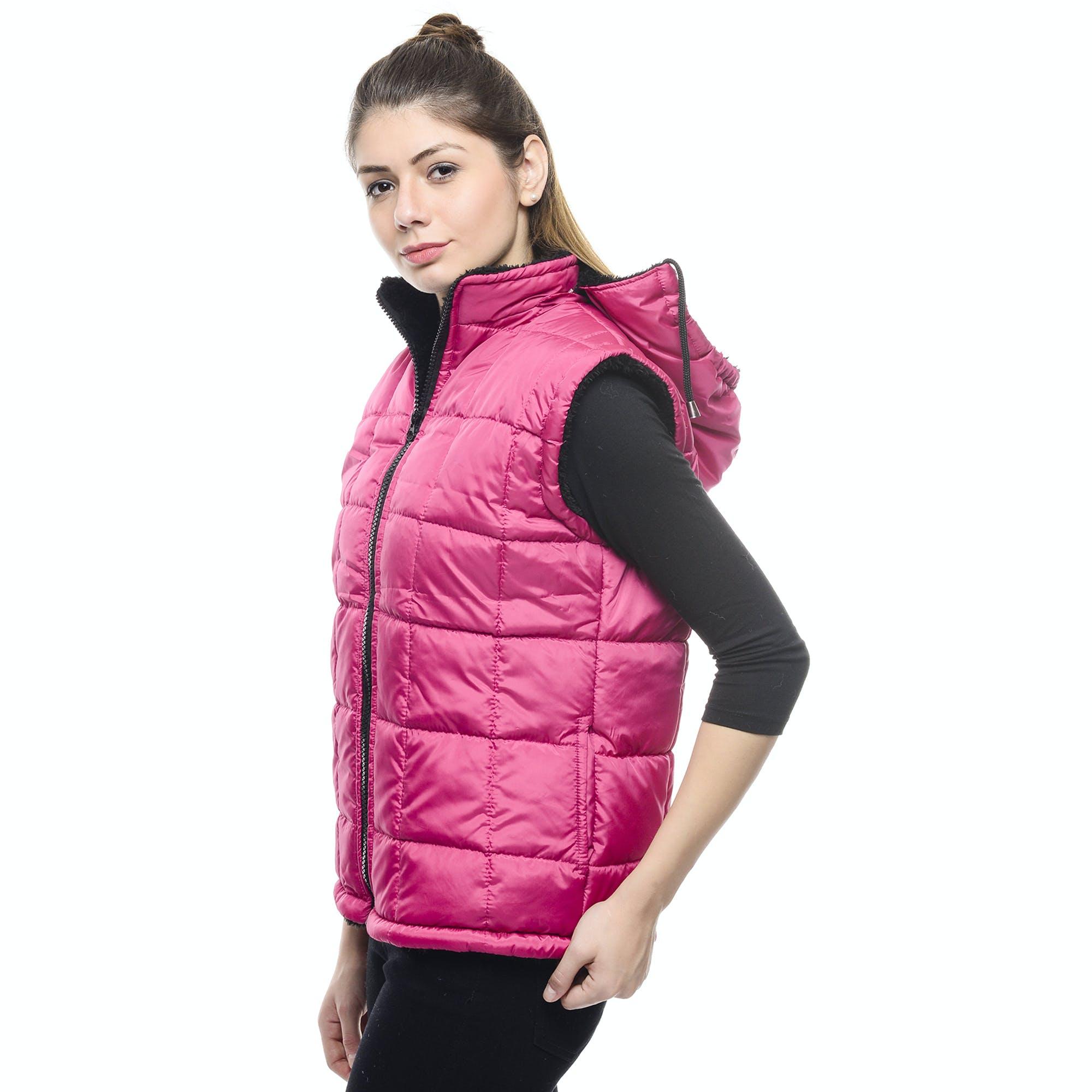 Girl Posing Wearing Puffer Vest