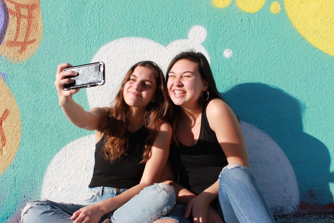 jenter, selfie, venner