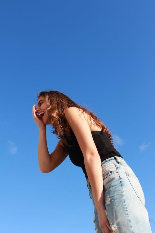 alegría, bonita, cielo azul