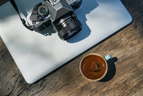 Cup Of Coffee In Front Of Camera