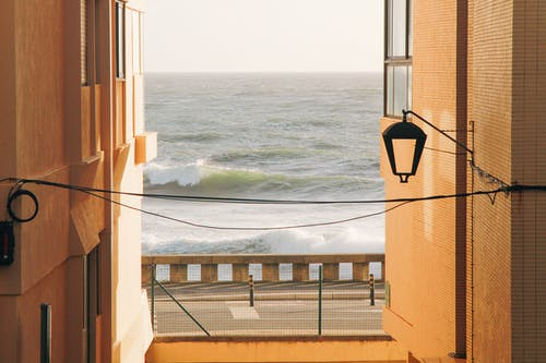 Summer. Sea views from brown apartment.