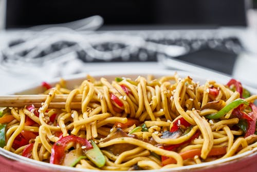 Stir Fry Noodles In Bowl