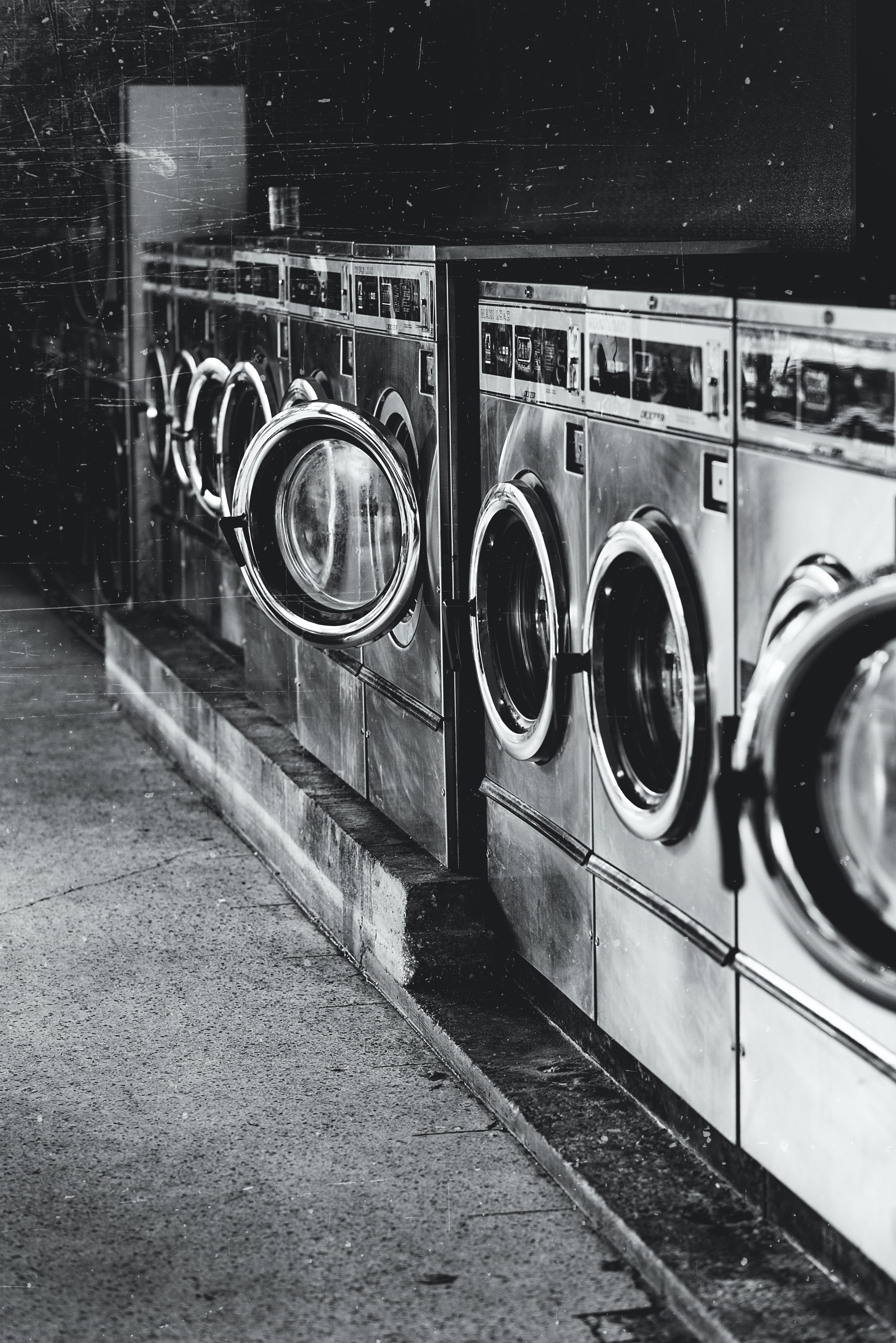 Free stock photo of antique, black and white, dryer, laundromat