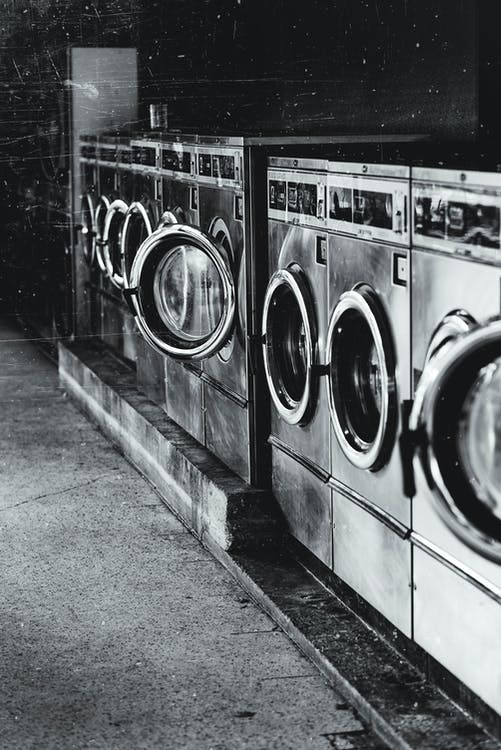 Grayscale Photography of Front-load Washers