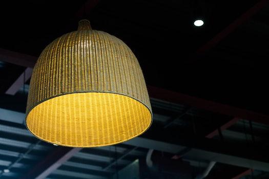 Brown Wicker Ceiling Lamp