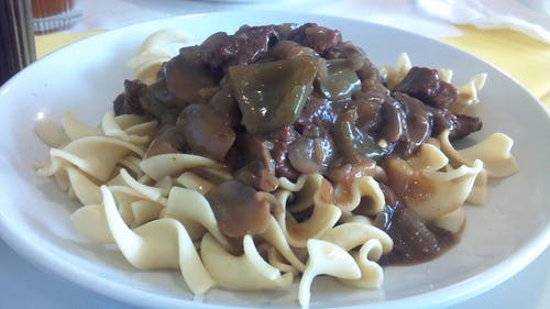 Free stock photo of beef tips, dinner, noodles, restaurant
