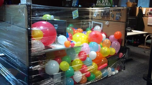 Free stock photo of balloons, cubicle, office, prank