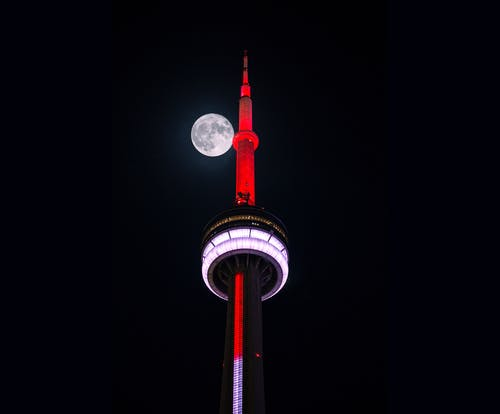 Ingyenes stockfotó alacsony szögű felvétel, cn torony, éjszakai égbolt, fény témában