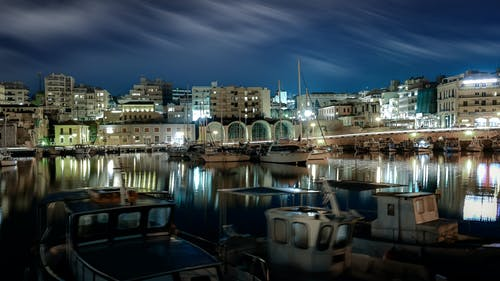 Free stock photo of colourful, fishing boats, harbour, night photography