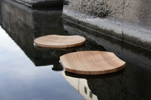 Free stock photo of water, reflection, floating, wooden bowl