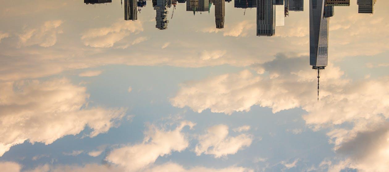 arquitetura, arranha-céu, céu azul